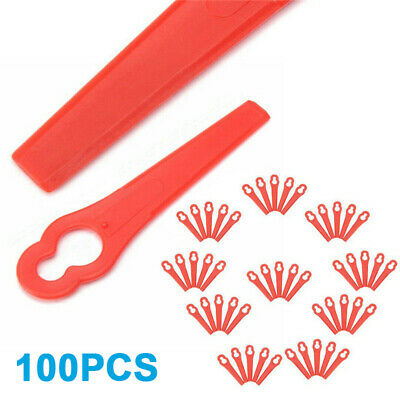 Red 100pcs Plastic Replacement Cutter Blade Set For Cordless Grass Trimmer Parts