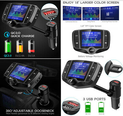 Bluetooth Car FM Transmitter Quick Charge Wireless Receiver Handsfree Calling AU