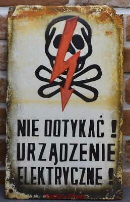 Vintage -Electricity Warning!  Metal Enamel Sign /4664