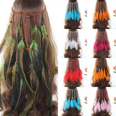 Indian Hippie Ladies Feather Headband Festival Hairband Costume Tribal Carnival