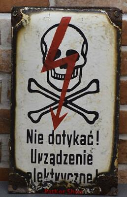 Vintage -Electricity Warning!  Metal Enamel Sign /4667