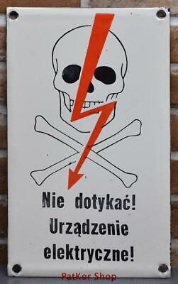 Vintage -Electricity Warning!  Metal Enamel Sign /4671