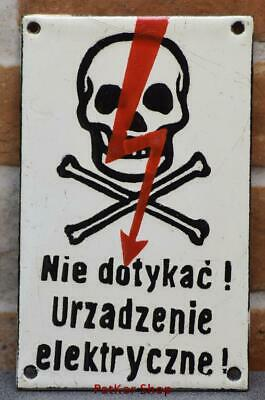 Vintage -Electricity Warning!  Metal Enamel Sign /4679