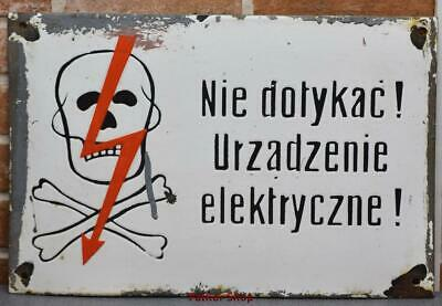 Vintage -Electricity Warning!  Metal Enamel Sign /4685