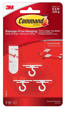 3M Command General Purpose Party Ceiling Hooks Pack of 3 Hooks Holds Up To 225g