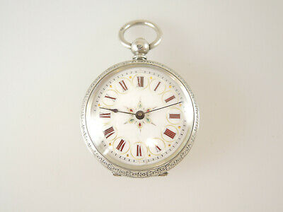 Beautiful Ladies Silver Fob Watch w/ red, gold and silver enamel dial c1880