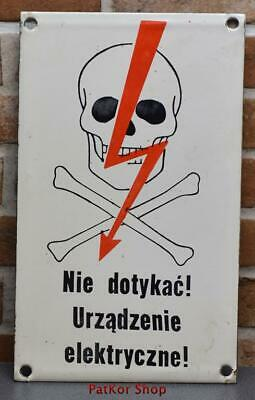 Vintage -Electricity Warning! Metal Enamel Sign /4666