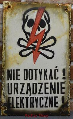 Vintage -Electricity Warning! Metal Enamel Sign /4670