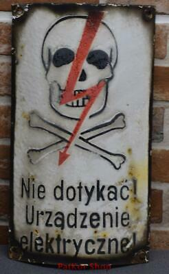Vintage -Electricity Warning! Metal Enamel Sign /4660