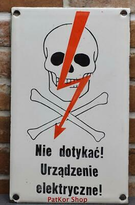 Vintage -Electricity Warning! Metal Enamel Sign /4665