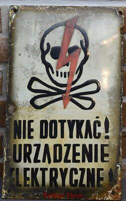 Vintage -Electricity Warning! Metal Enamel Sign /4663
