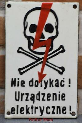 Vintage -Electricity Warning! Metal Enamel Sign /4680