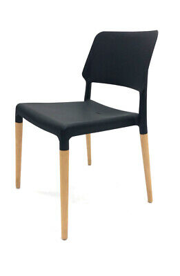 High Quality Contemporary Black Stacking Chairs with Beech Wooden Legs