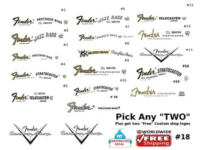 Fender Guitar Decal Waterslide Restoration Headstock Decal Logo Pick any Two 18