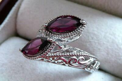 Pretty Pinky Red Rhodolite Garnet 925 Sterling Silver Crossover Ring Sz Q 8.5