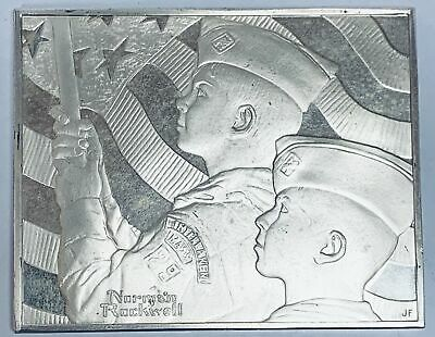 Norman Rockwell Fun On The Hill Sterling Silver Franklin Mint Bar 3.215 Ounces