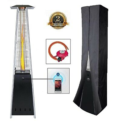 BU-KO Outdoor Patio Gas Heater with Bluetooth Speaker Black