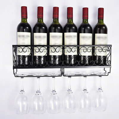 Black Wine Rack Wall Mounted Bottle Champagne Glass Holder Bar Accessory Kit Hot