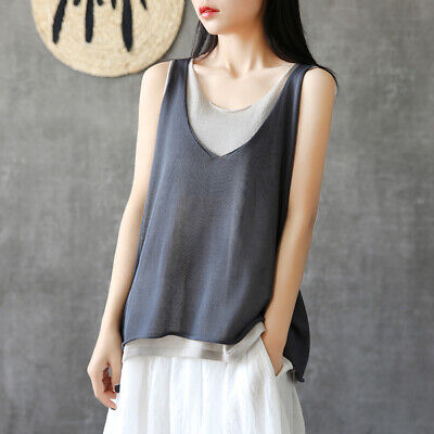Women Cotton Linen Loose Pregnant Lady Casual Vest Tops Cropped Summer Shirt Tee