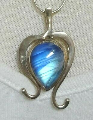 Vintage Sterling Silver Necklace With Opalescent Blue Glass or Stone Pendant