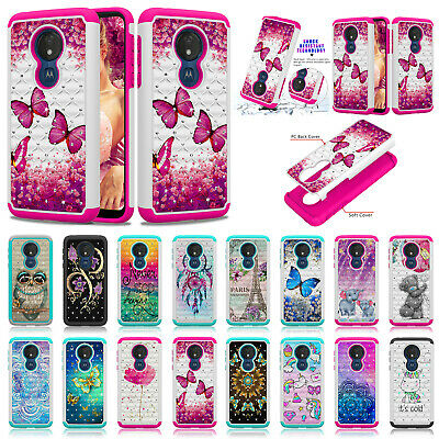 For Moto G7 Plus Z3 Play Z4 G7 Power Fashion Lady Print 2in1 Hybrid Hard Case
