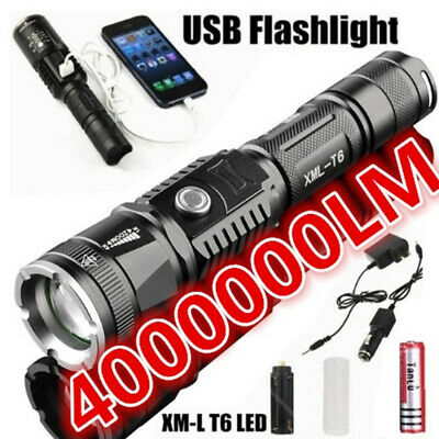 400000LM Led Flashlight Mulfuntion Flashlight XM-L L2 LED Torch USB Charging