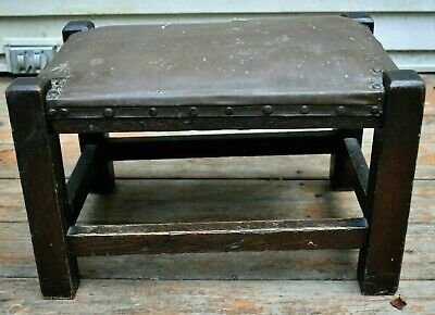 Antique ARTS & CRAFTS FOOTSTOOL Dark Oak Mission Ottoman Leather Top ORIGINAL