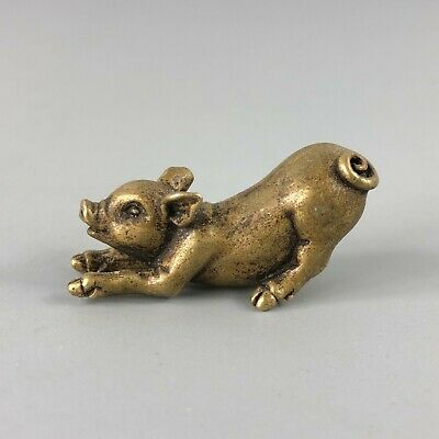 Collectible Antique Old Brass Handwork Chinese Golden Pig Small Ornament Statue