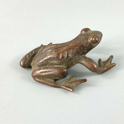 Old Collectible Chinese Solid Copper Frog Antique Pure Manual Ornament Statue
