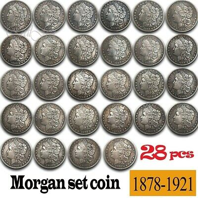 28Pcs US Morgan Coins 1878-1921 All Set Antique Old Liberty Coins Collection