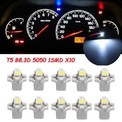 10x T5 B8.3D 5050 1SMD Car LED Dashboard Dash Gauge Instrument Light Bulbs White