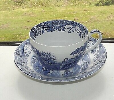 Spode Blue Italian Pattern Blue and White Large Jumbo Breakfast Cup and Saucer