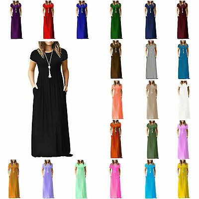 Ladies Women Cap sleeve Long Plain Party Maxi Casual Dress with Pockets