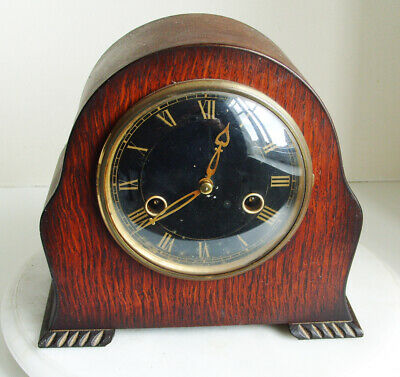 Vintage Art Deco Wooden Mantel Clock- Smiths Enfield  - Working