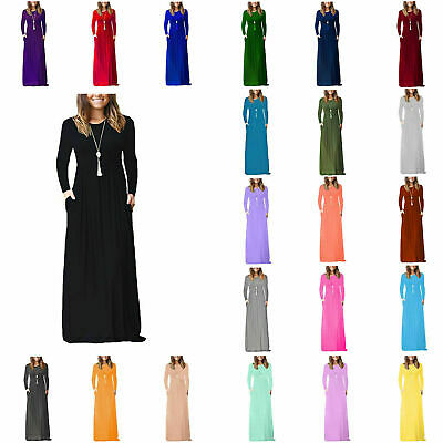 Women's Full sleeve Loose Plain Evening Party Long Dress Maxi with Pockets