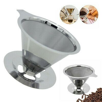 Dripper Maker Holder Stainless Mesh Coffee Filter Cup Cone Pour Over Drip UK