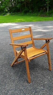 """Vintage Small Wooden Slat Folding Child's Chair,Brown,16"""" x 22"""" Folded, 20"""" High"""
