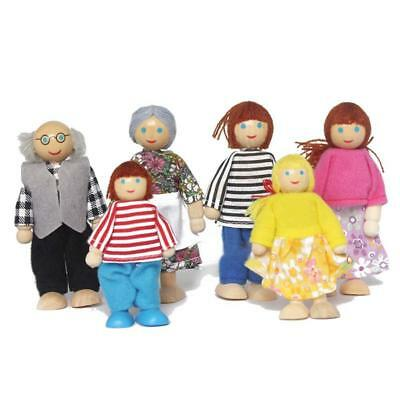 Cute Wooden House Family People Dolls Set Kids Children Pretend Play Toy Gift ❀V