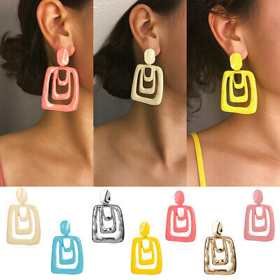 Women Candy Personality Exaggeration Big Dangle Geometric Party Earrings Jewelry