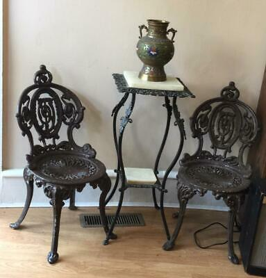 Antique Cast Iron Victorian Heavy Pair Lawn Patio Chairs - Atlanta Stove Works