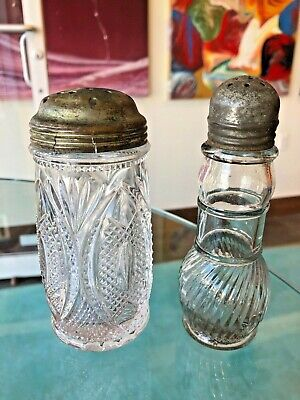 2 Antique Crystal Glass Sugar Shaker Sifters Cut Glass Beautiful