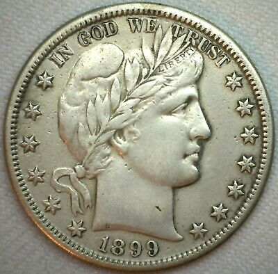 1899 S Silver Barber Half Dollar 50c US Type Coin Fifty Cents XF Extra Fine K19