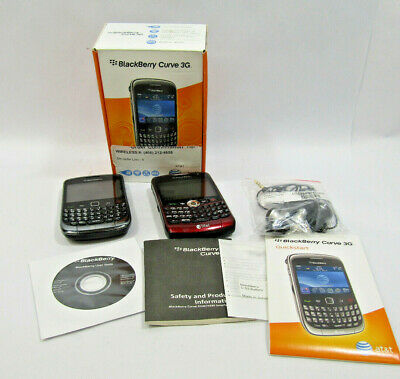Vintage Lot of 2 Blackberry Phones, 1 Box Instructions Disc and Ear Buds