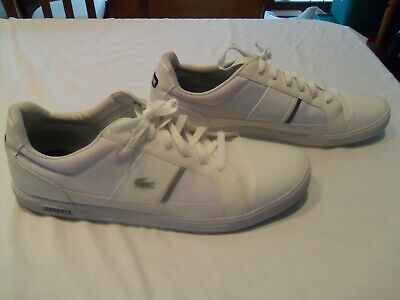 LACOSTE Men's White Ortholite Lace Up Sneakers Shoes Size 16