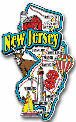 Magnet NEW JERSEY Jumbo USA State Map Fridge Magnets Great Gift for any occasion