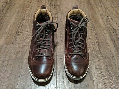 CLARKS NORSEN MID High Top Brown Leather Shoes Sneakers