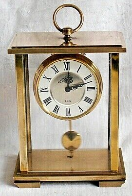 German 8 Day Brass Mantel Clock