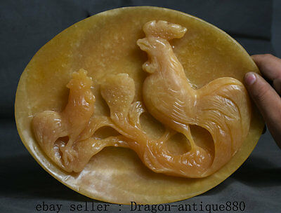 """10"""" Chinese Natural Jade Carving Chicken Chook Rooster Son Plate Screen Shelf"""