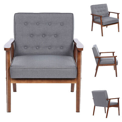Wooden Lounge Chair Retro Modern Fabric Upholstered for Reading 75x69x84CM Gray