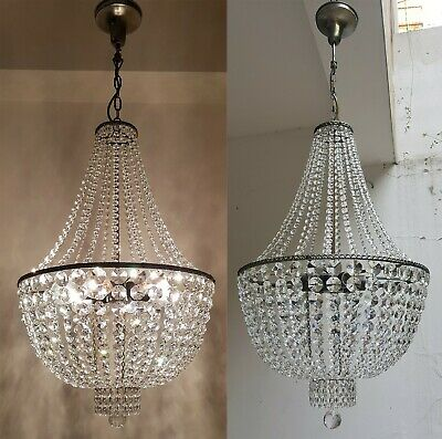Matching Pair of Antique Vintage Brass & Crystals French HUGE Chandeliers Light